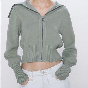 Zara zipped knit jacket (sweater)